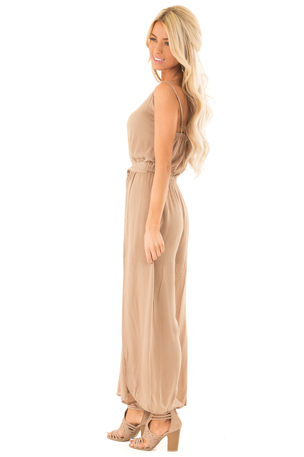 Mocha Sleeveless Jumpsuit with Leg Slits and Back Tie side full body