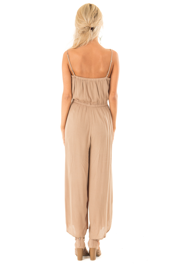 Mocha Sleeveless Jumpsuit with Leg Slits and Back Tie back full body