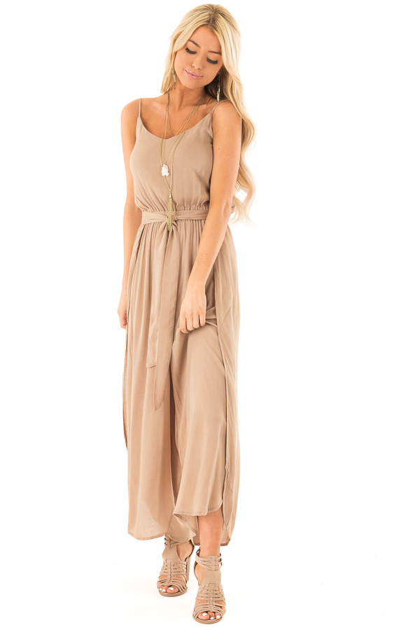 Mocha Sleeveless Jumpsuit with Leg Slits and Back Tie front full body