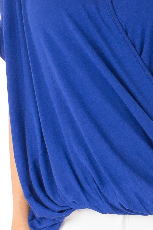 Royal Blue Surplice Bubble Hem Top with Short Sleeves detail