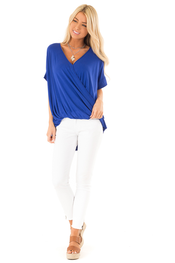 Royal Blue Surplice Bubble Hem Top with Short Sleeves front full body