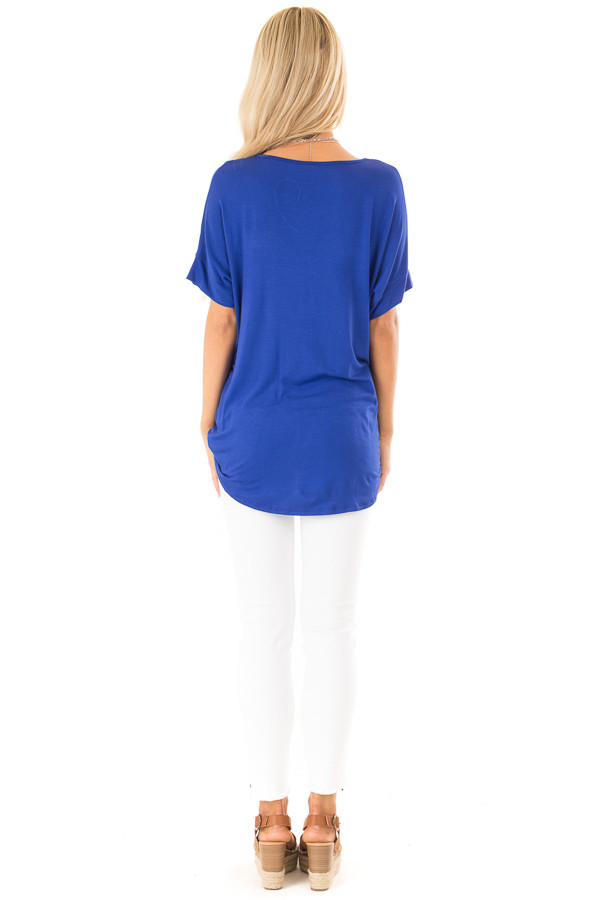 Royal Blue Surplice Bubble Hem Top with Short Sleeves back full body