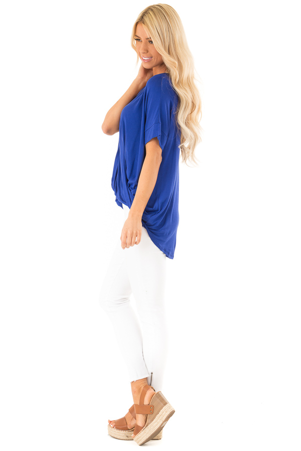 Royal Blue Surplice Bubble Hem Top with Short Sleeves side full body