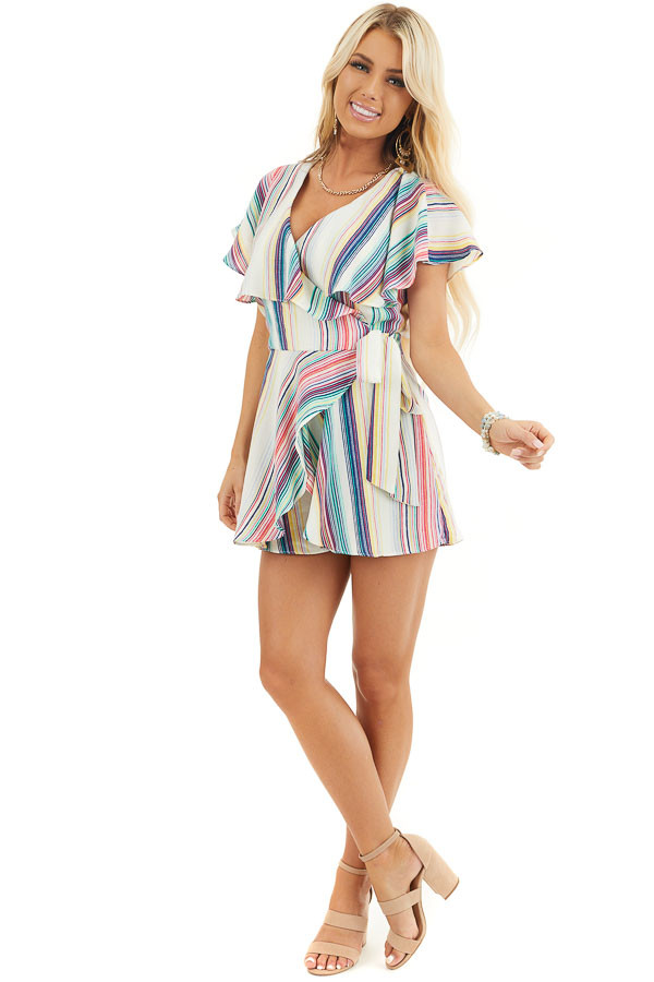Rainbow Striped Wrap Style Backless Romper with Waist Tie front full body