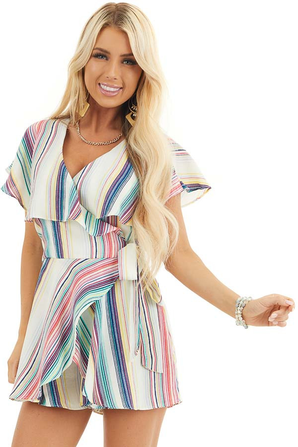 Rainbow Striped Wrap Style Backless Romper with Waist Tie front close up