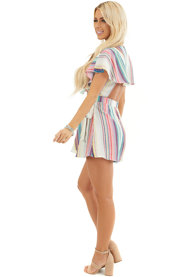 Rainbow Striped Wrap Style Backless Romper with Waist Tie side full body