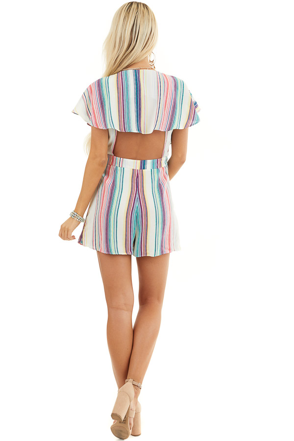 Rainbow Striped Wrap Style Backless Romper with Waist Tie back full body
