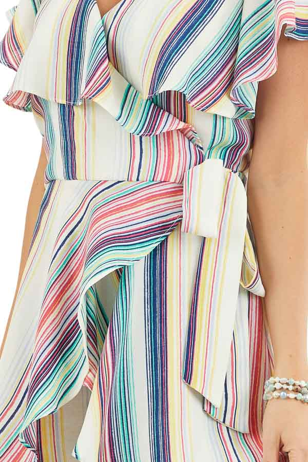 Rainbow Striped Wrap Style Backless Romper with Waist Tie detail