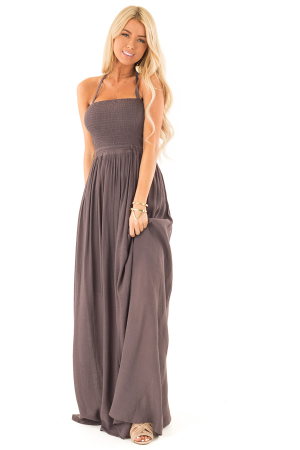 Deep Plum Smocked Halter Maxi Dress with Criss Cross Back front full body