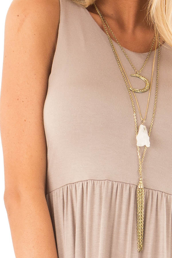 Latte Racerback Tank Maxi Dress with Pockets detail