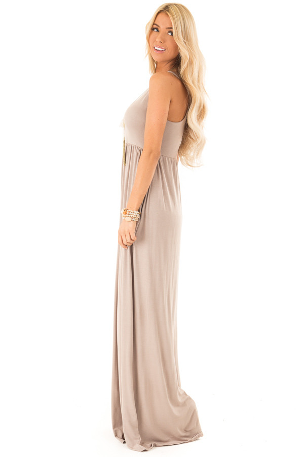 Latte Racerback Tank Maxi Dress with Pockets side full body