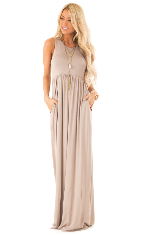 Latte Racerback Tank Maxi Dress with Pockets front full body