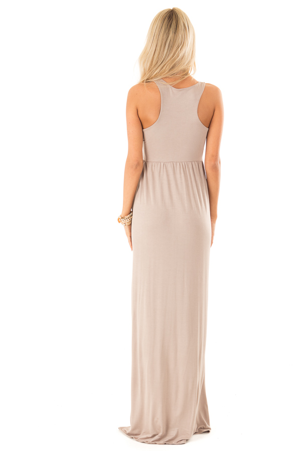 Latte Racerback Tank Maxi Dress with Pockets back full body
