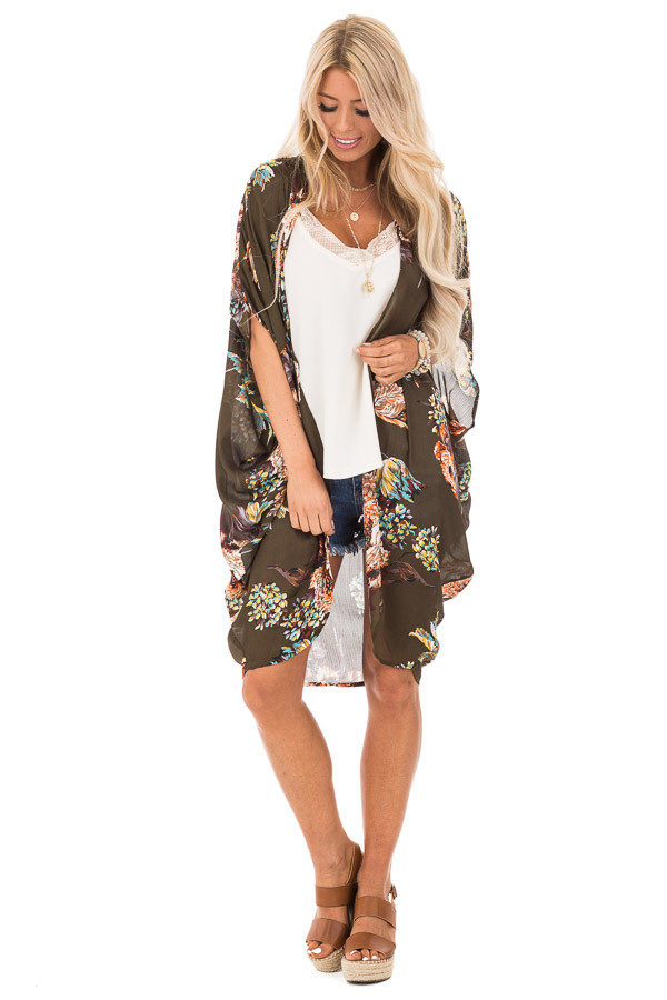 Olive Floral Kimono with Cocoon Hem and Pleated Shoulders front full body