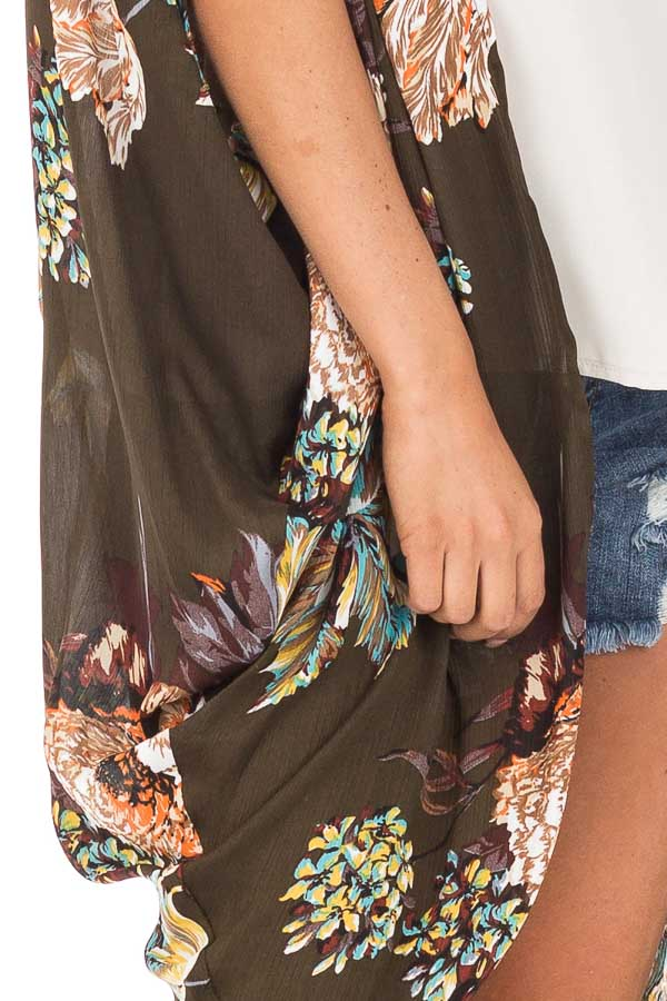 Olive Floral Kimono with Cocoon Hem and Pleated Shoulders detail