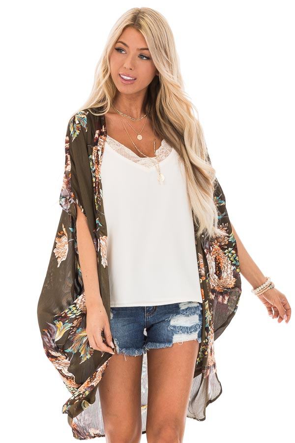 Olive Floral Kimono with Cocoon Hem and Pleated Shoulders front close up