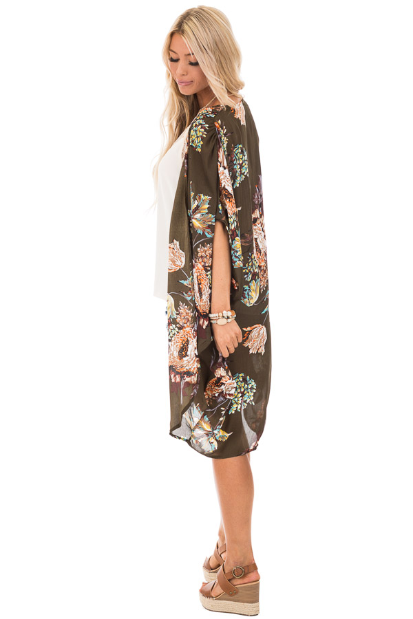 Olive Floral Kimono with Cocoon Hem and Pleated Shoulders side full body