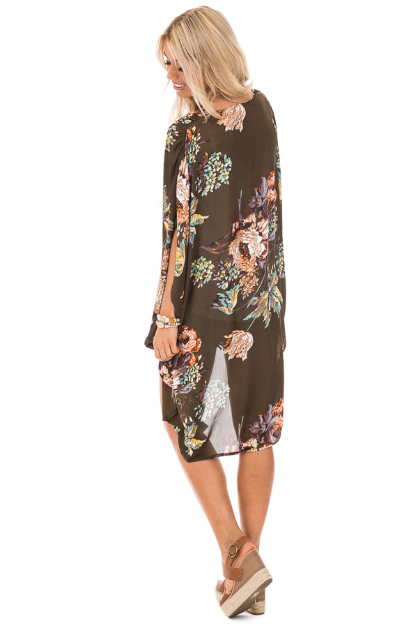 Olive Floral Kimono with Cocoon Hem and Pleated Shoulders back full body