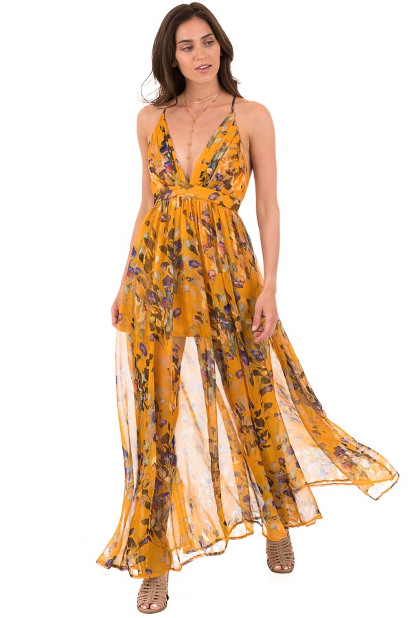 Mango Floral Print V Neck Maxi Dress with Criss Cross Back front full body