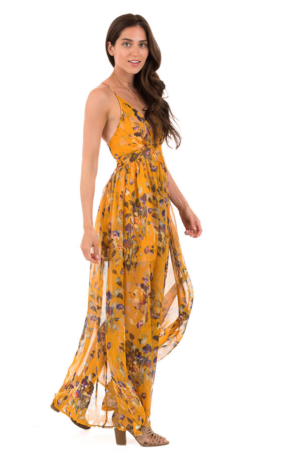 Mango Floral Print V Neck Maxi Dress with Criss Cross Back side full body