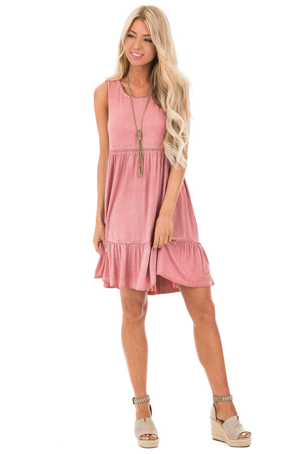 Tawny Pink Washed Dress with Lace Detail and Crisscross Back front full body