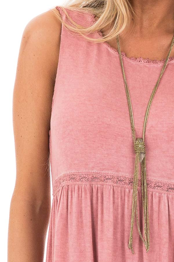 Tawny Pink Washed Dress with Lace Detail and Crisscross Back detail