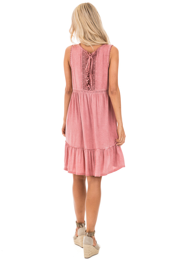 Tawny Pink Washed Dress with Lace Detail and Crisscross Back back full body