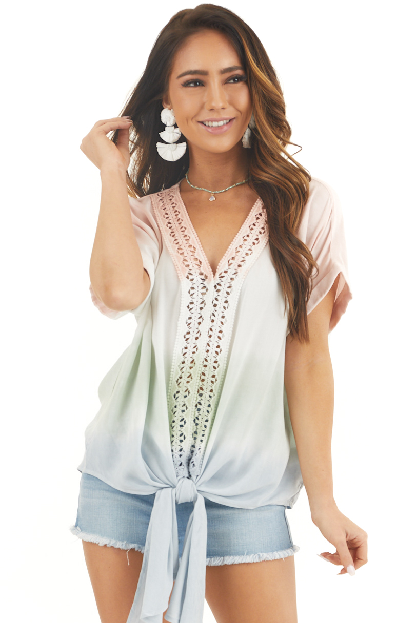 Faded Blush and Sage Ombre Top with Crochet Detail and Tie