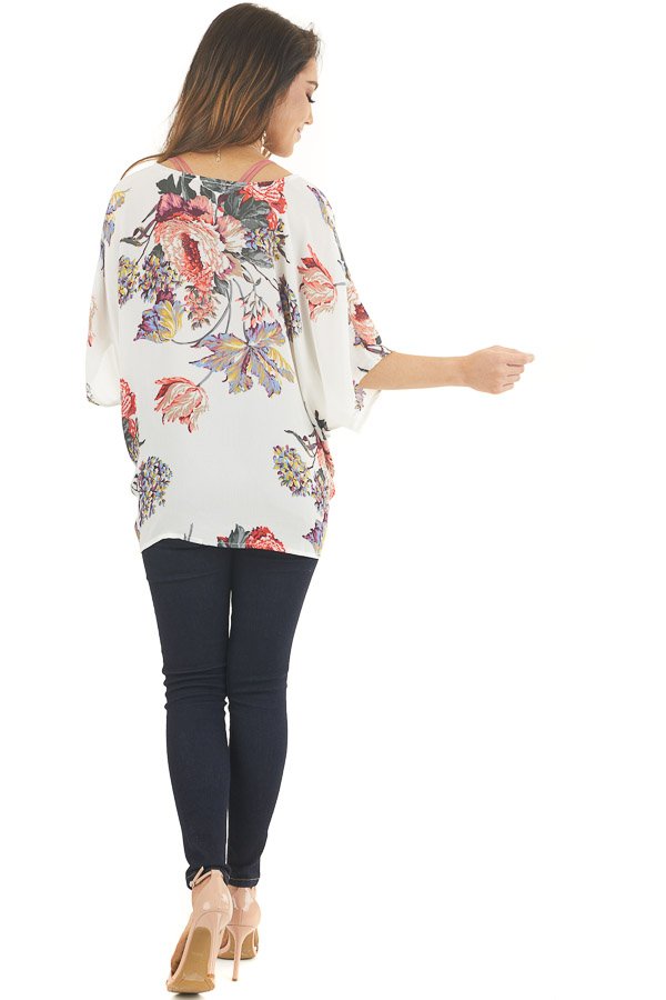 Ivory Floral Print Reversible Top with Twist Detail