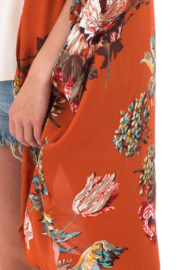 Rust Floral Kimono with Cocoon Hem and Pleated Shoulders detail