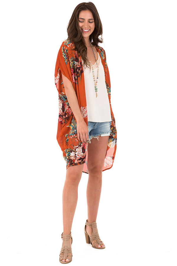 Rust Floral Kimono with Cocoon Hem and Pleated Shoulders front full body