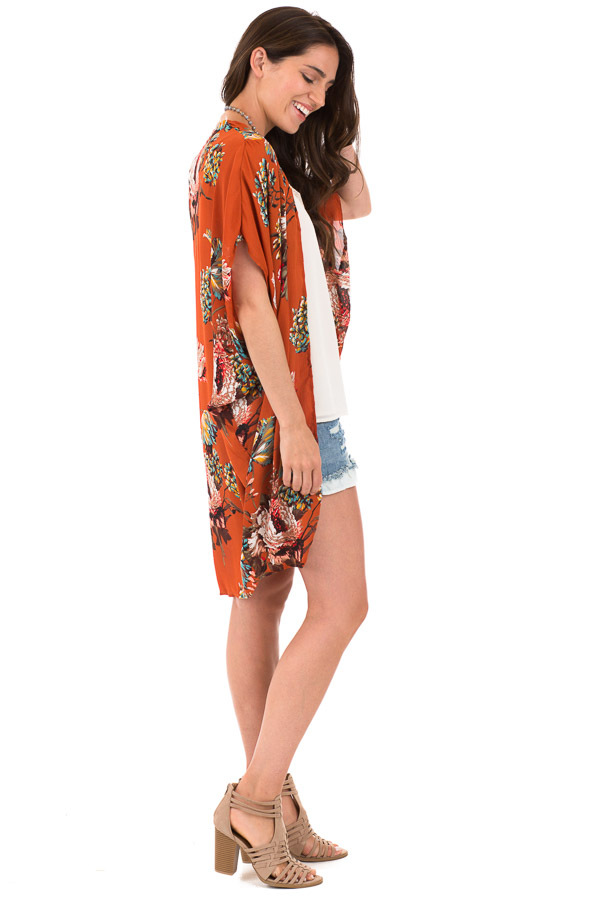 Rust Floral Kimono with Cocoon Hem and Pleated Shoulders side full body