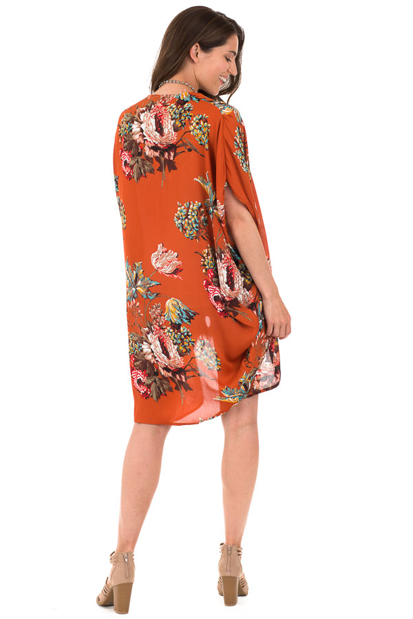 Rust Floral Kimono with Cocoon Hem and Pleated Shoulders back full body