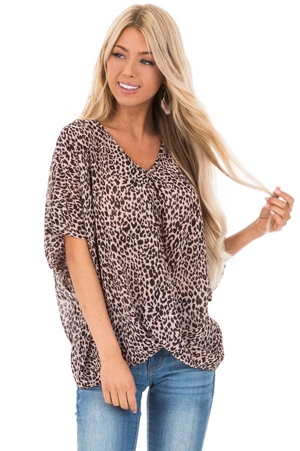 Blush Leopard Print V Neck Top with Short Batwing Sleeves front close up