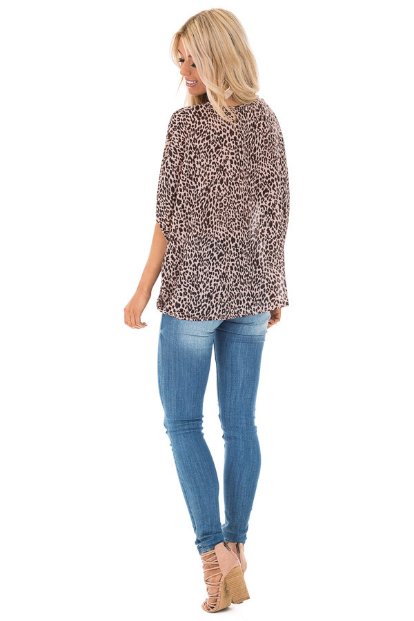 Blush Leopard Print V Neck Top with Short Batwing Sleeves back full body
