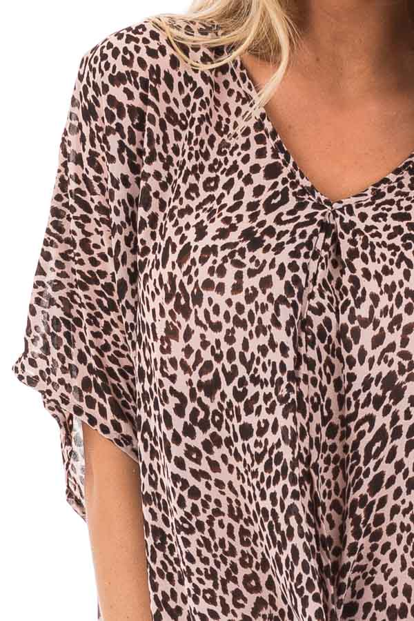 Blush Leopard Print V Neck Top with Short Batwing Sleeves detail