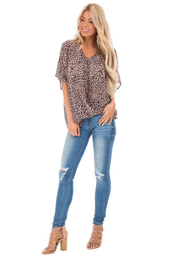 Blush Leopard Print V Neck Top with Short Batwing Sleeves front full body