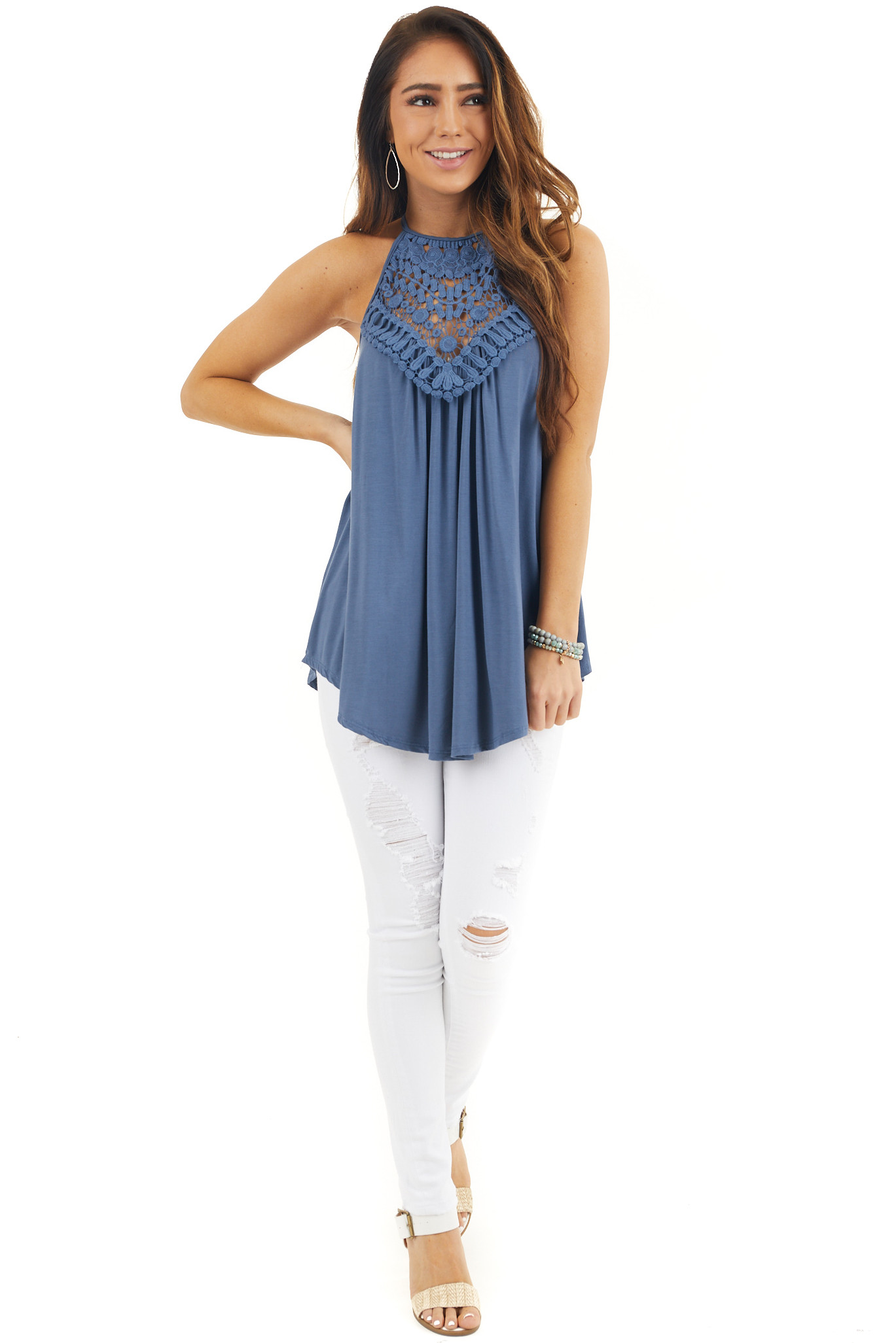 Slate Blue Tank Top with Sheer Lace Chest