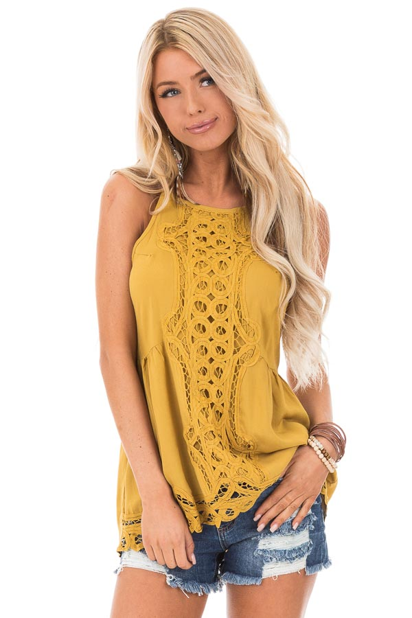 Mustard Tank Top with Crochet Front and Scalloped Hem front close up