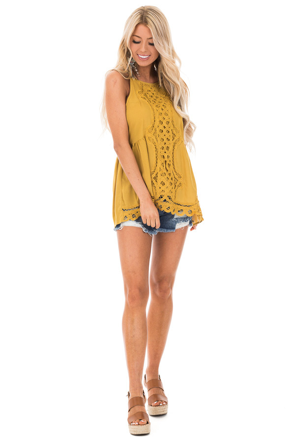 Mustard Tank Top with Crochet Front and Scalloped Hem front full body