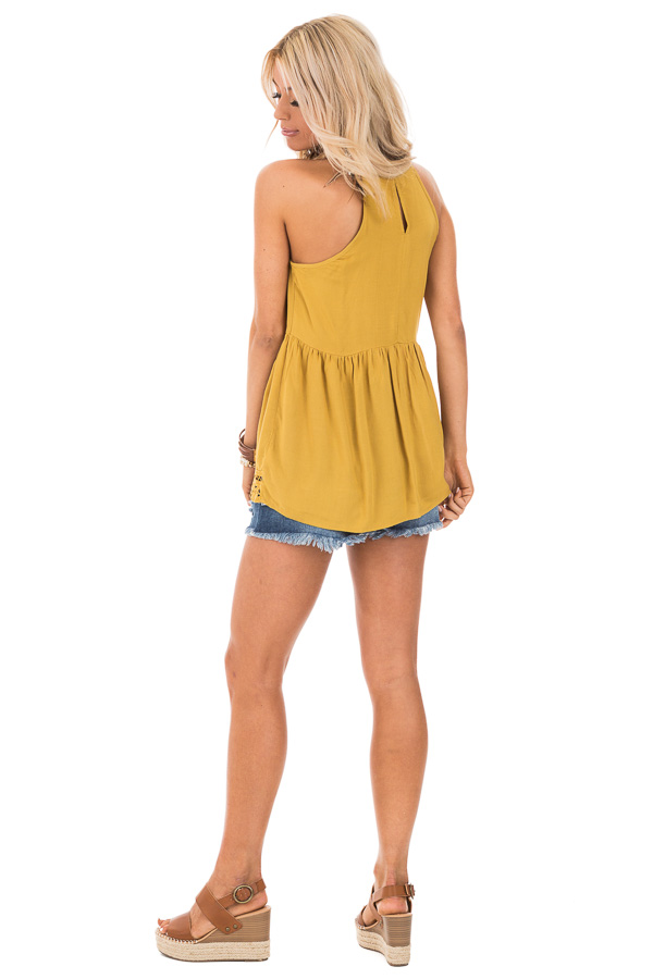 Mustard Tank Top with Crochet Front and Scalloped Hem back full body