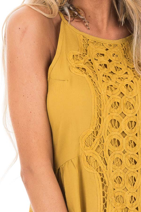 Mustard Tank Top with Crochet Front and Scalloped Hem detail