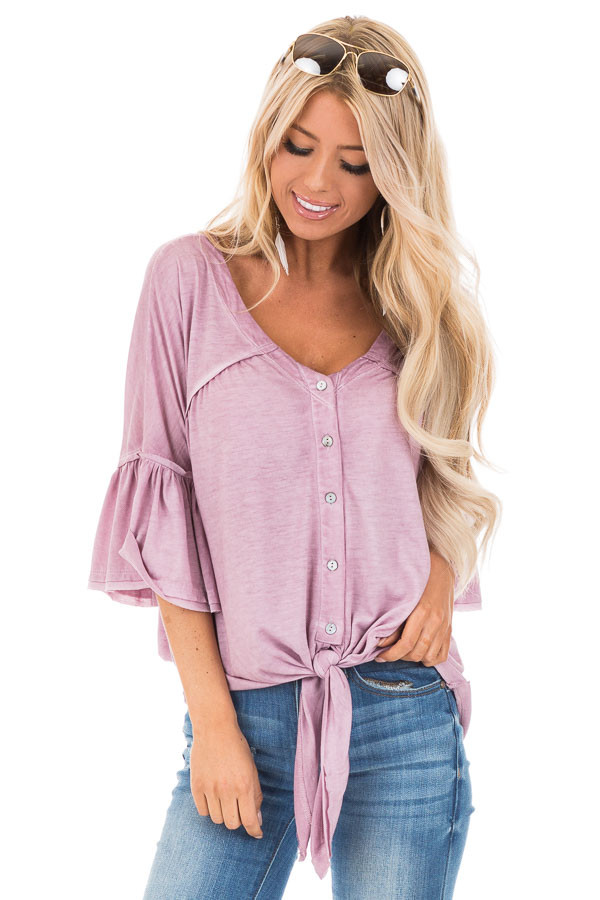 Mauve Button Up V Neck Top with Front Tie and Ruffle Sleeves front close up