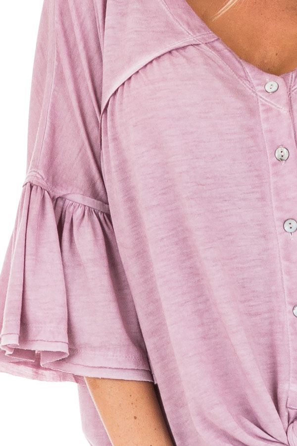 Mauve Button Up V Neck Top with Front Tie and Ruffle Sleeves detail