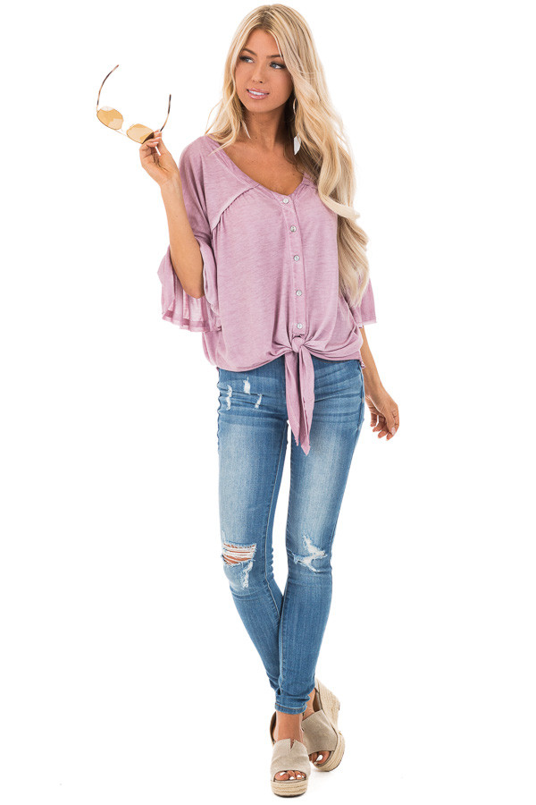 Mauve Button Up V Neck Top with Front Tie and Ruffle Sleeves front full body