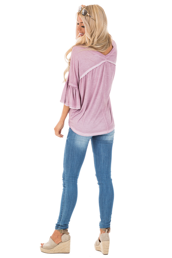 Mauve Button Up V Neck Top with Front Tie and Ruffle Sleeves back full body