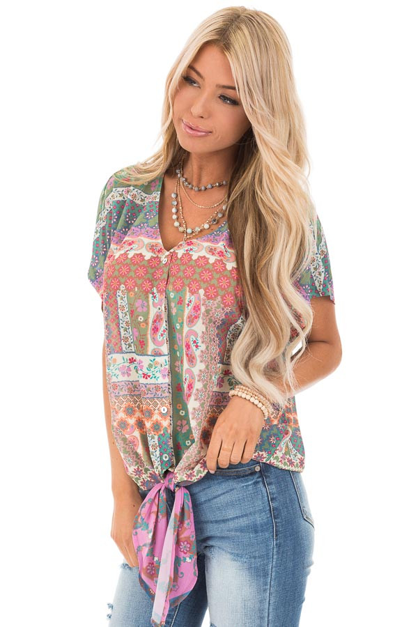 Green Apple Multi Print Sheer Button Up Top with Front Tie front close up
