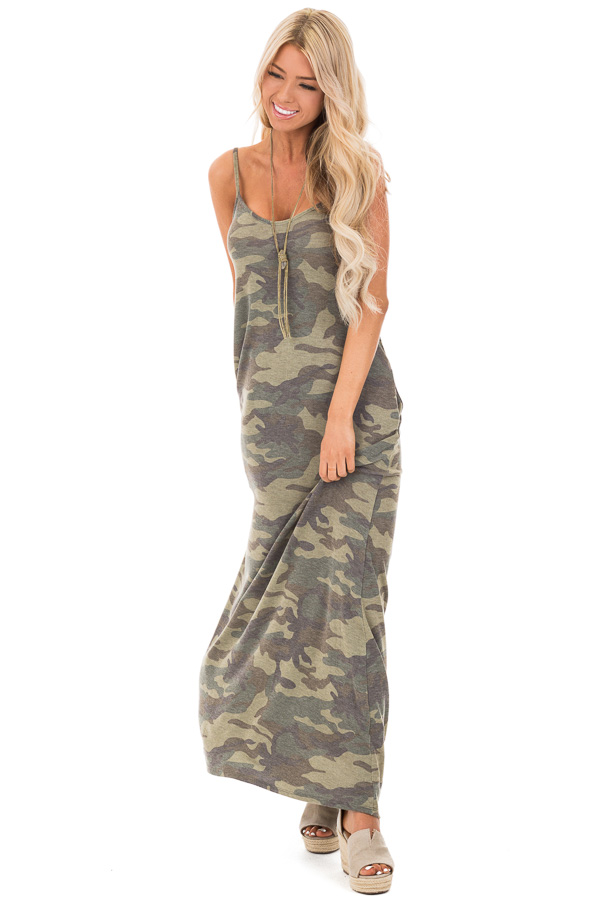 d8d59a4ccad750 Olive Camo Print Spaghetti Strap Maxi Dress with Pockets front full body