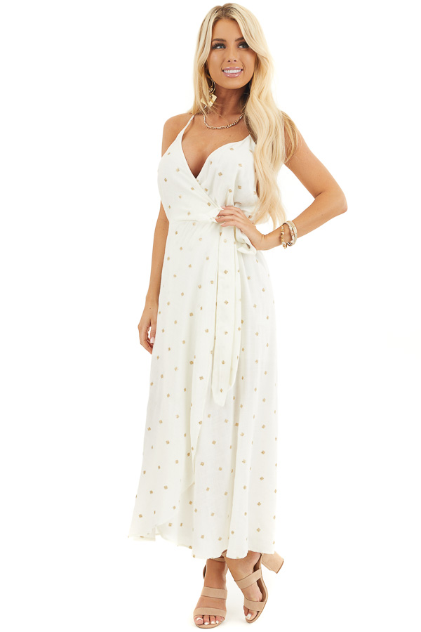 Ivory and Gold Spaghetti Strap Midi Dress with Tulip Hemline front full body