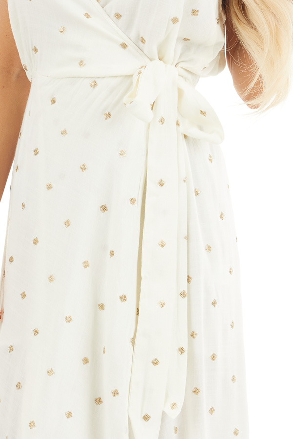 Ivory and Gold Spaghetti Strap Midi Dress with Tulip Hemline detail